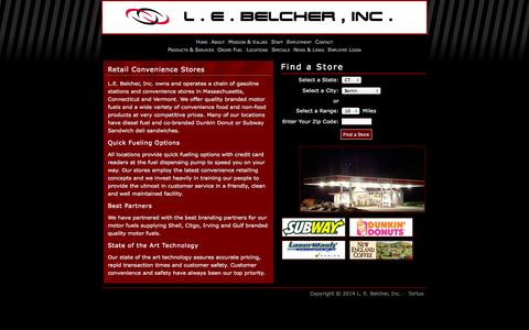 Screenshot of Locations Page lebelcher.com - L. E. Belcher, Inc. |      Our gas stations and convenience stores in Western MA and CT - captured Oct. 1, 2014