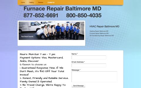 Screenshot of Contact Page webs.com - Furnace Repair Baltimore MD - Contact Us - captured Sept. 13, 2014