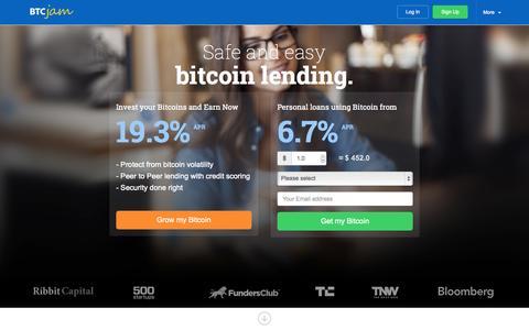 Screenshot of Home Page btcjam.com - Peer to Peer Bitcoin Lending - BTCJam - captured Sept. 18, 2014