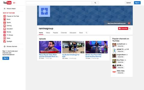 Screenshot of YouTube Page youtube.com - ramirezgroup  - YouTube - captured Oct. 26, 2014