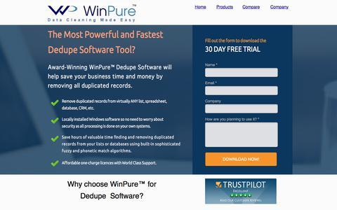 Screenshot of Landing Page winpure.com - Dedupe Software - captured Sept. 11, 2017