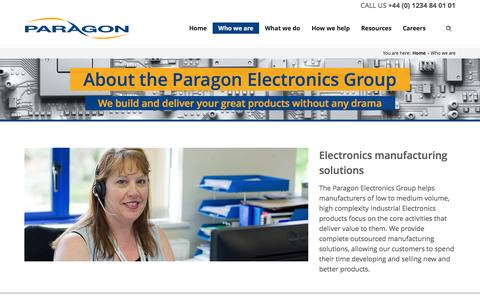 Screenshot of About Page paragonelectronicsgroup.com - Who we are - captured Aug. 13, 2016