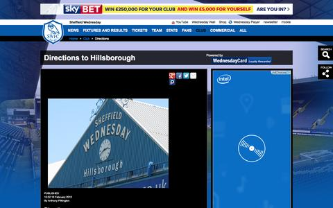 Screenshot of Maps & Directions Page swfc.co.uk - Directions to Hillsborough - captured Sept. 22, 2014