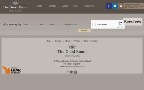 Screenshot of Services Page thegoodroom.ie - Services | The Good Room - captured Jan. 11, 2016