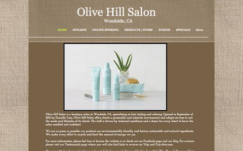 Screenshot of Home Page olivehillsalon.com - olivehillsalon - captured Oct. 7, 2014