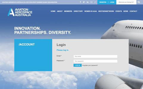Screenshot of Login Page aviationaerospace.org.au - Login -  Aviation Aerospace - captured Oct. 9, 2017