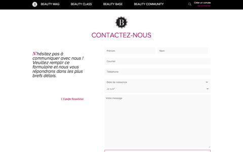 Screenshot of Contact Page beautistas.com - Contactez-nous   Beautistas   Apprendre la beauté : News, articles, interviews, tutos coiffure, tutos maquillage, masterclass et plus ... - captured Sept. 25, 2014