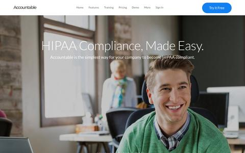 Screenshot of Home Page accountablehq.com - Accountable - HIPAA Compliance, Made Easy - HIPAA Training, Risk Assessment, Business Associate Agreements and more. - captured July 3, 2015