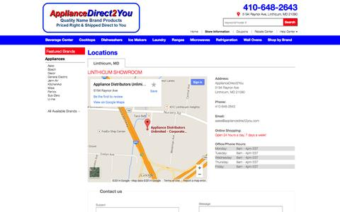 Screenshot of Contact Page Locations Page appliancedirect2you.com - Contact ApplianceDirect2You in Maryland - captured Oct. 23, 2014