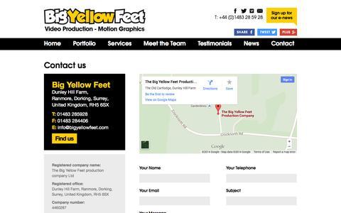 Screenshot of Contact Page bigyellowfeet.co.uk - Big Yellow Feet | Contact Us - captured Oct. 5, 2014