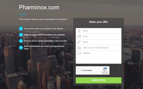 Screenshot of Home Page pharminox.com - Pharminox.com domain name is for sale. Inquire now. - captured July 12, 2018