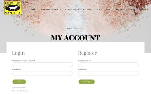 Screenshot of Signup Page Login Page singingdogvanilla.com - My Account – Singing Dog Vanilla - captured Oct. 17, 2017