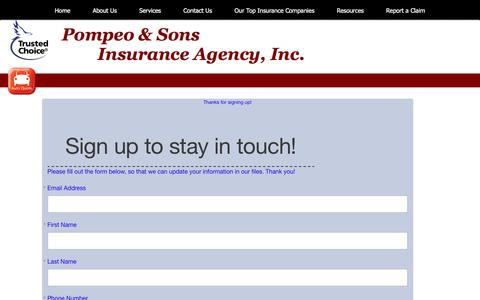 Screenshot of Signup Page pompeoinsurance.com - Pompeo & Sons Insurance Agency - SIGN UP - captured Aug. 12, 2017