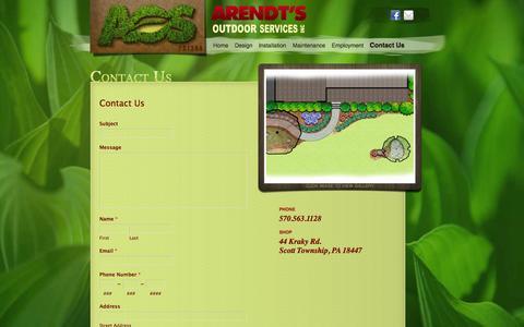 Screenshot of Contact Page aoslandscaping.com - AOS Contact - captured Oct. 4, 2014