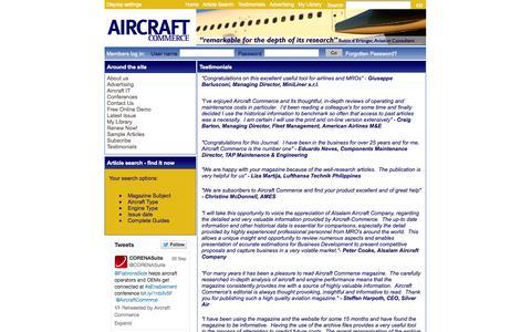 Screenshot of Testimonials Page aircraft-commerce.com - Testimonials, Aircraft Commerce - captured Sept. 30, 2014