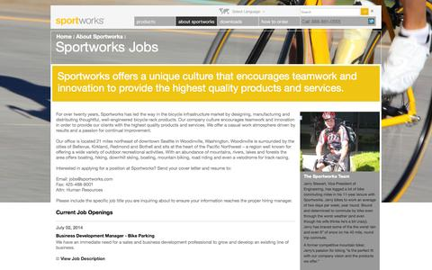 Screenshot of Jobs Page sportworks.com - Sportworks Jobs – Sportworks - captured Oct. 29, 2014