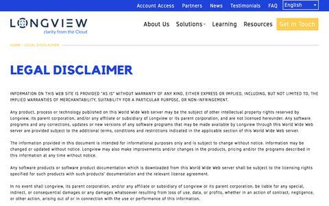 LEGAL DISCLAIMER | Longview