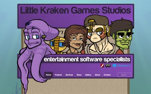 Screenshot of Home Page littlekraken.com - Little Kraken Games Studios | Independant Entertainment and Business Software Development Specialists - captured Oct. 3, 2014