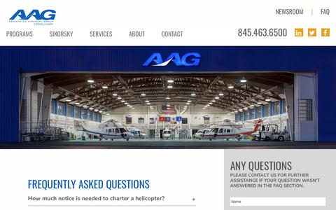 Screenshot of FAQ Page flyaag.com - Frequently Asked Questions (FAQ) of Associated Aircraft Group - captured Oct. 9, 2017