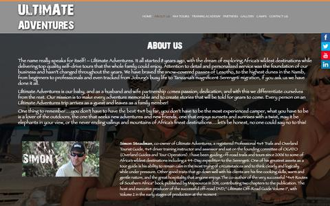 Screenshot of About Page ultimateadventures.tv - About Us - captured Oct. 19, 2018