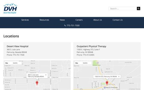 Screenshot of Locations Page desertviewhospital.com - Locations   Desert View Hospital - captured June 4, 2017