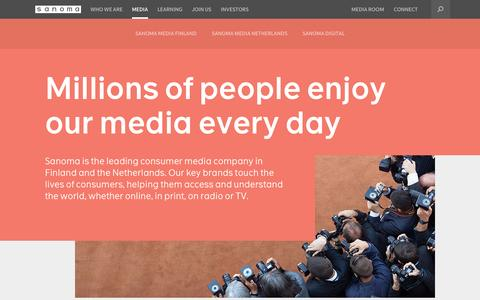 Screenshot of Press Page sanoma.com - Media – Section Frontpage | Sanoma - captured Oct. 29, 2014