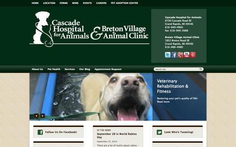 Screenshot of Home Page Login Page chfa.net - Veterinarians Grand Rapids, Michigan   Cascade Hospital For Animals & Breton Village Animal Clinic - captured Oct. 2, 2014