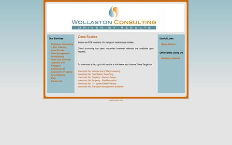 Screenshot of Case Studies Page wollastonconsulting.com - Case Studies - captured Oct. 7, 2014