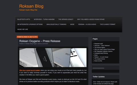 Screenshot of Blog roksan.co.uk - Roksan Blog - captured Sept. 24, 2014