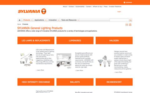 Screenshot of Products Page sylvania.com - General Lighting Products - captured Nov. 8, 2016