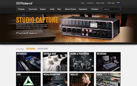 Screenshot of Products Page rolandcorp.com.au - Products | Roland Corporation Australia - captured Sept. 23, 2014