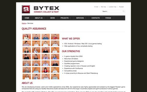 Screenshot of Services Page bytexgames.com - Bytex LLC. Intellectual games development and publishing. | Quality Assurance - captured Oct. 5, 2014