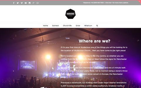 Screenshot of Locations Page audaciouschurch.com - !Audacious Church Location - Where are we? - captured Aug. 4, 2015