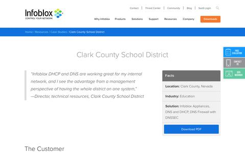 Screenshot of Case Studies Page infoblox.com - Clark County School District - Infoblox - captured Sept. 25, 2017