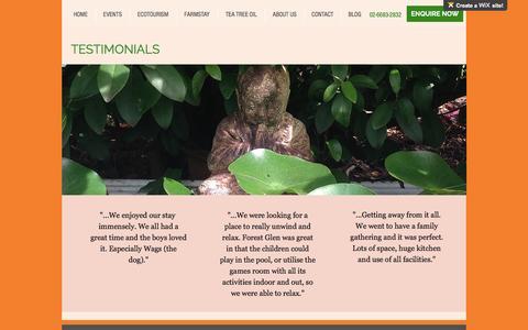Screenshot of Testimonials Page forestglenorganic.com.au - Testimonials/Reviews - captured Nov. 25, 2016