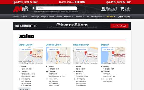 Screenshot of Locations Page altomusic.com - Our Stores | AltoMusic.com | (845) 692-6922 - captured May 29, 2017