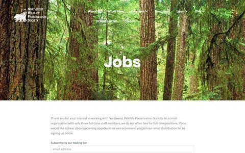 Screenshot of Jobs Page northwestwildlife.com - Jobs – Northwest Wildlife Preservation Society - captured Oct. 18, 2018
