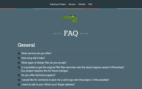 Screenshot of FAQ Page psdgator.com - PSD to HTML | PSDgator - captured May 13, 2017