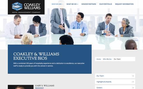 Screenshot of Team Page cwhotels.com - Coakley & Williams Executive Bios - captured Nov. 8, 2016