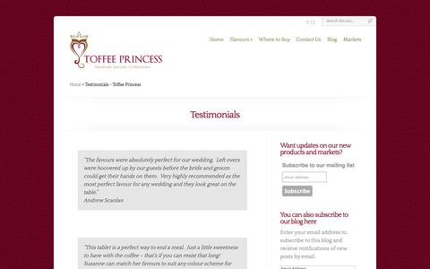 Screenshot of Testimonials Page toffeeprincess.com - Testimonials - Toffee Princess - captured Sept. 30, 2014