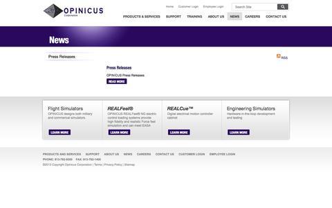 Screenshot of Press Page opinicus.com - News - captured Oct. 7, 2014