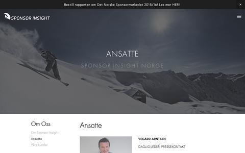 Screenshot of Team Page sponsorinsight.no - Sponsor Insight — Ansatte - captured Feb. 17, 2016