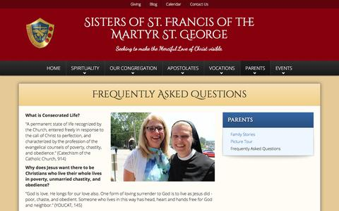 Screenshot of FAQ Page altonfranciscans.org - Frequently Asked Questions   Sisters of St. Francis of the Martyr St. George - captured Oct. 21, 2017