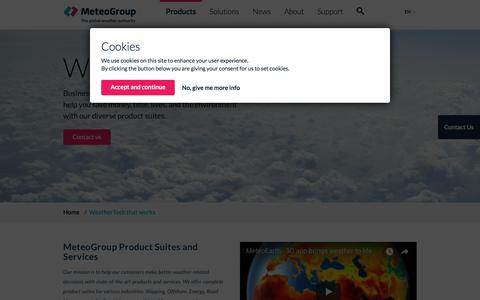 Screenshot of Products Page meteogroup.com - WeatherTech that works | MeteoGroup - captured Sept. 23, 2018