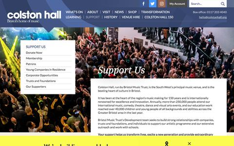 Screenshot of Support Page colstonhall.org - Support Us / Colston Hall - captured Nov. 29, 2017