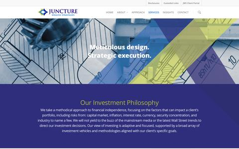 Screenshot of Services Page juncturewealth.com - Services - Juncture Wealth Strategies - captured Feb. 12, 2016