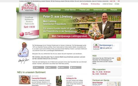 Screenshot of Home Page sandpassage.de - Delikatessen und Feinkost in Lüneburg - Sandpassage - Manfred Tschorn - captured June 9, 2018