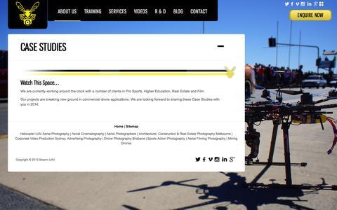 Screenshot of Case Studies Page swarmuav.com.au - Case Studies | Swarm UAV - captured Oct. 7, 2014