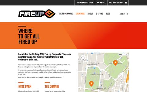 Screenshot of Locations Page fireupcorporatefitness.com.au - Fire Up Corporate Fitness Locations, Sydney – 1300 009 220 - captured Sept. 30, 2014