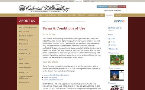 Screenshot of Terms Page history.org - Terms and Conditions of Use of the Colonial Williamsburg Website : The Colonial Williamsburg Official History & Citizenship Site - captured Nov. 4, 2014